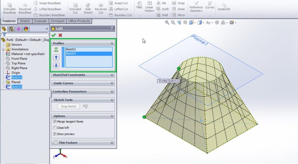 solidworks loft boss base tutorials select the sketched profiles in profiles section of loft property mananger step 4-2