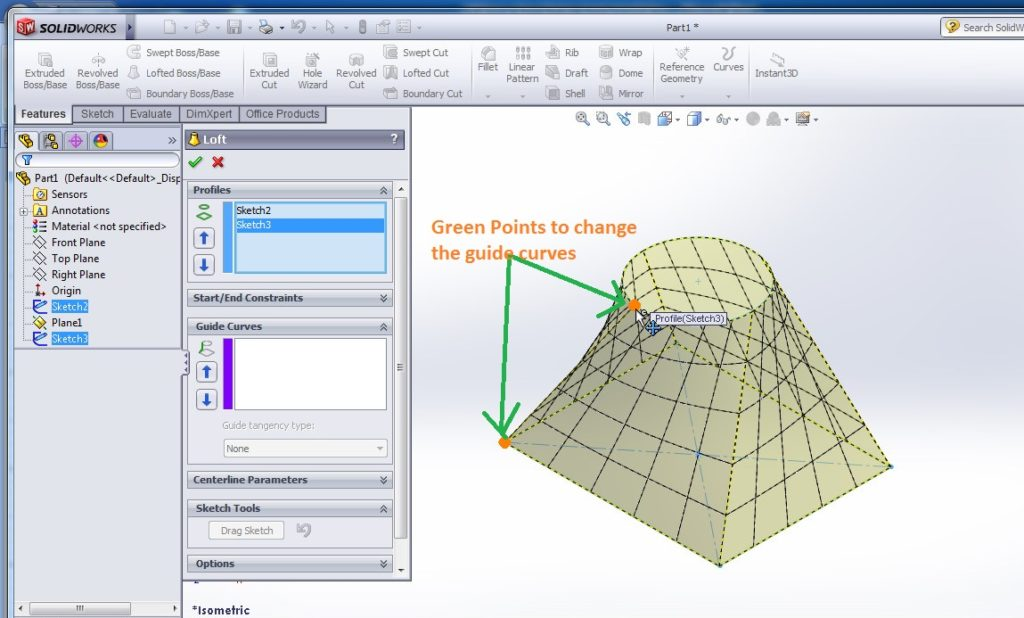 solidworks loft boss tutorial to change guide curves to adjust the shapes