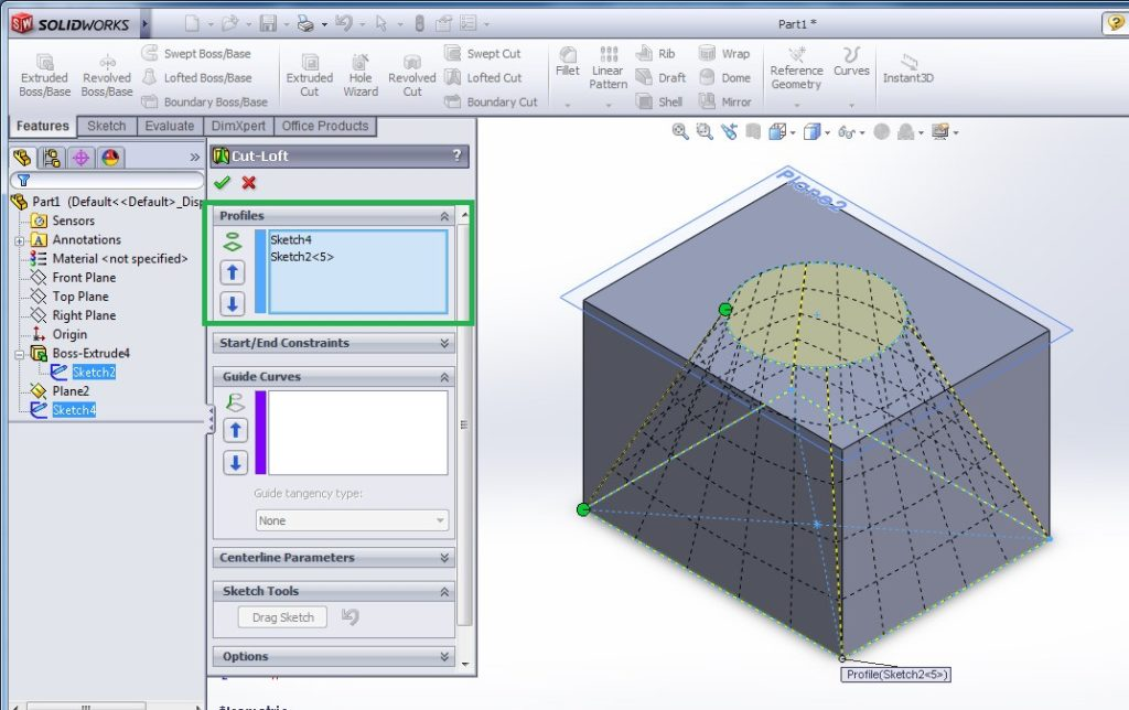 solidworks loft cut tutorial for beginners preview of loft cut feature applied between two profiles