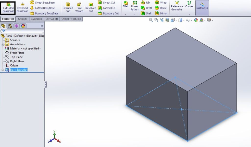 solidworks loft cut tutorial for beginners solid rectangular box creation using extrude boss or base feature