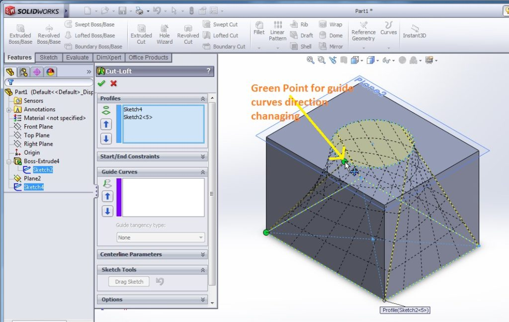 solidworks loft cut tutorials for beginners adjusting the guide curves for cutting the maerials in differnt way