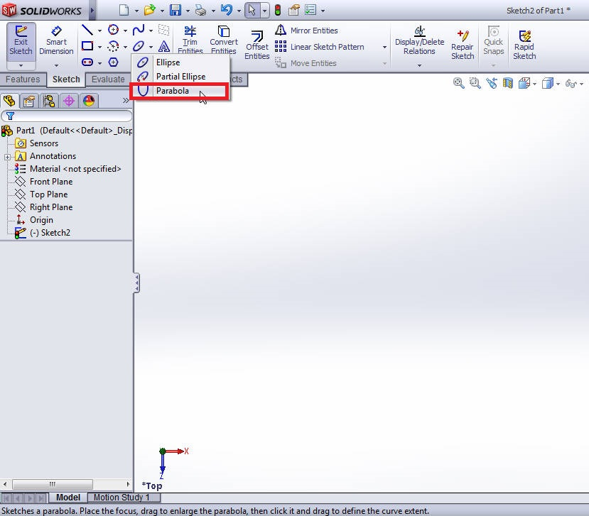 solidworks parabola sketching tutorial-parabola selection from command manager