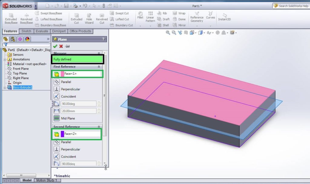 solidworks plane feature tutorial - create midplane between two faces of 3d rectangular box