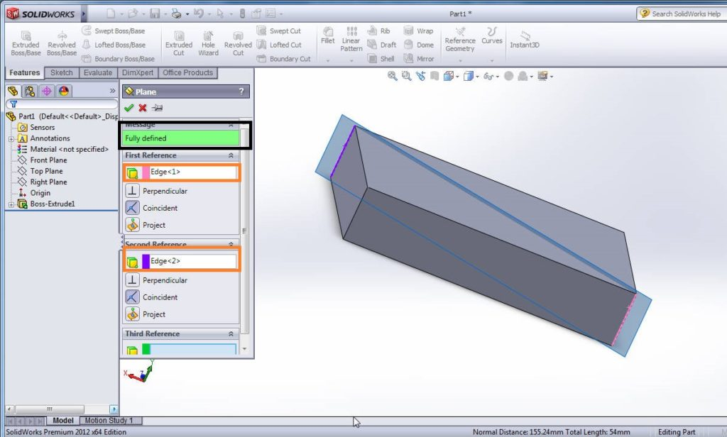 solidworks plane feature tutorial - create plane using first and second referance diagonally to edges of 3d box