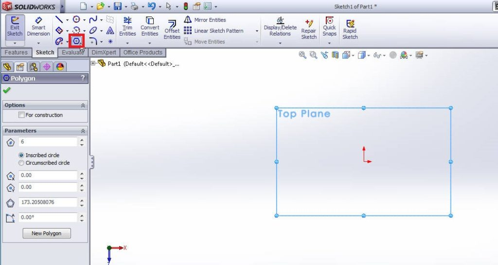 solidworks polygon sketching tool tutorial step 2