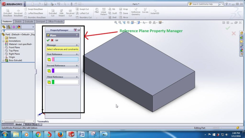 solidworks reference plane tutorials - plane property manager shown beside the 3d box step 3-1