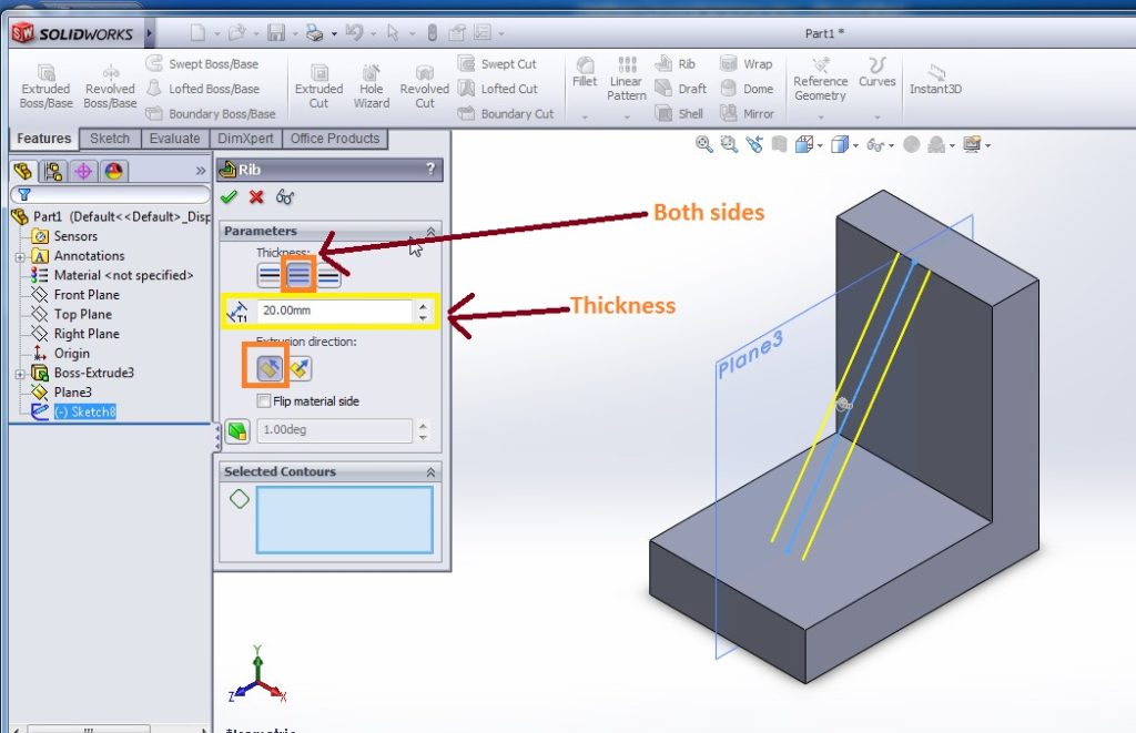 solidworks rib tutorials apply rib feature rib property manager tickness, extrusion directio etc