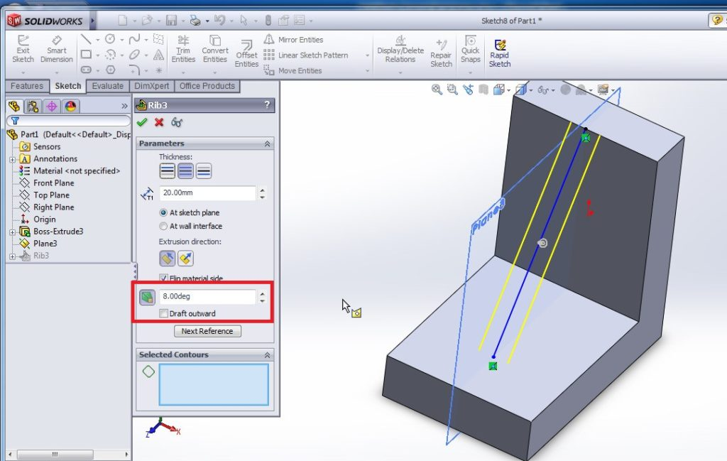 solidworks rib tutorials how to use rib features tool apply draft inward settings from rib propertymanager