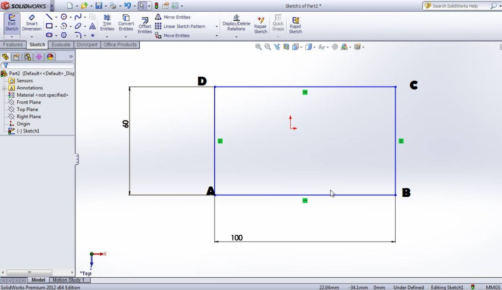 solidworks sketch fillet rectangle sketch step 1