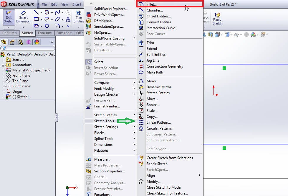 solidworks sketch fillet tool from menubar selection step 2