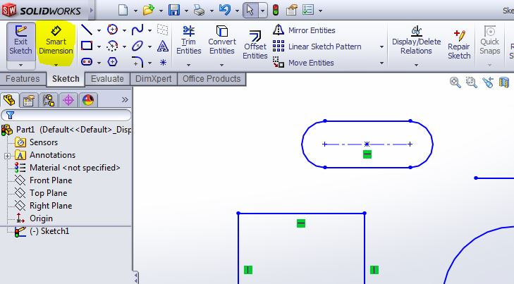solidworks-smart-dimesion-use-step-2-tool-selection-from-command-manager