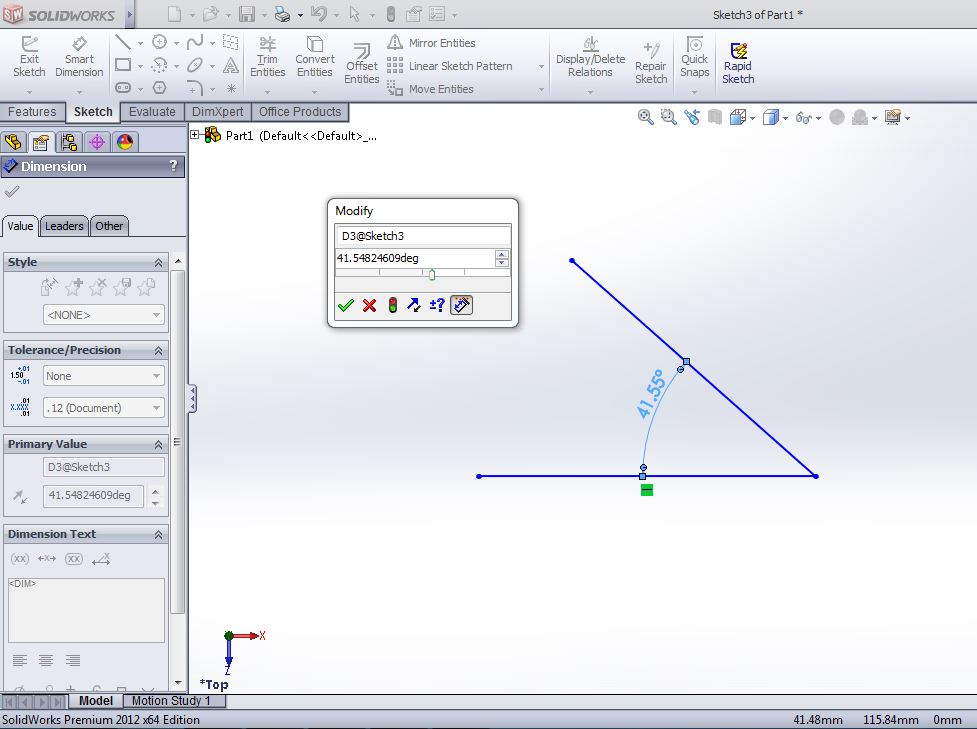 solidworks smart dimesion use step-3 line dimension angle between two lines application