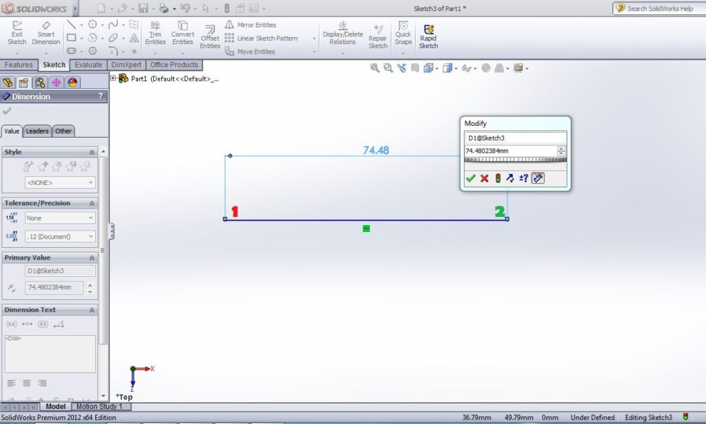 solidworks smart dimesion use step-3 line dimension application