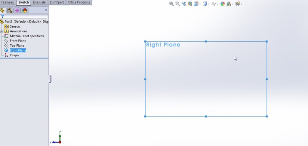 solidworks spline sketching tutorial_create part file with select right plane