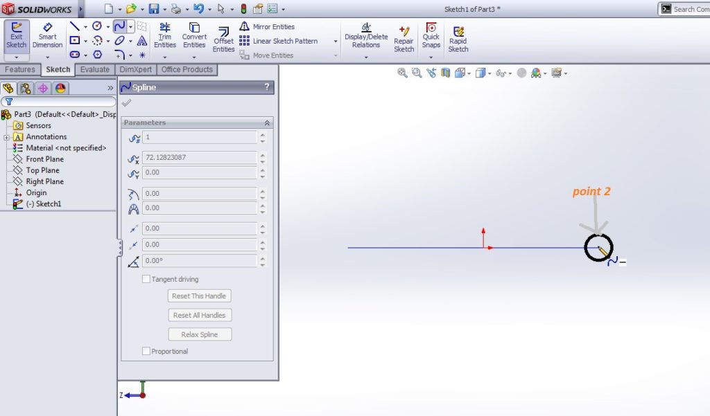 solidworks spline sketching tutorial_how to create simple curve create spline point 2