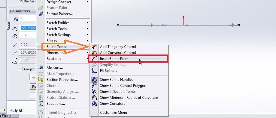 solidworks spline sketching tutorial_how to insert spline point between a spline curve spoint using spline tools