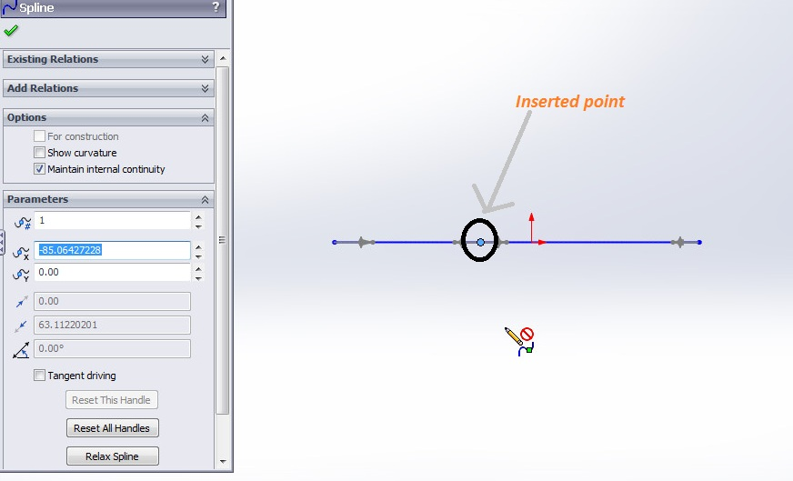 solidworks spline sketching tutorial_inserted point shown