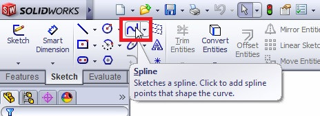 solidworks spline sketching tutorial_select the spline sketch tool from features toolbar