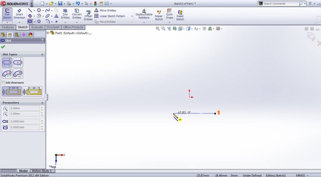 solidworks straight slot sketching tutorial step 3 point 1