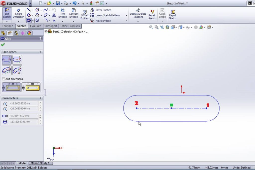 solidworks straight slot sketching tutorial step 3 point 2
