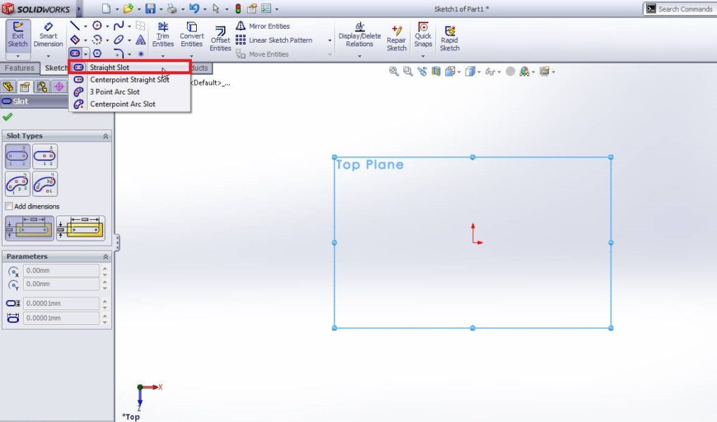 solidworks stright slot sketching tutorial step 2