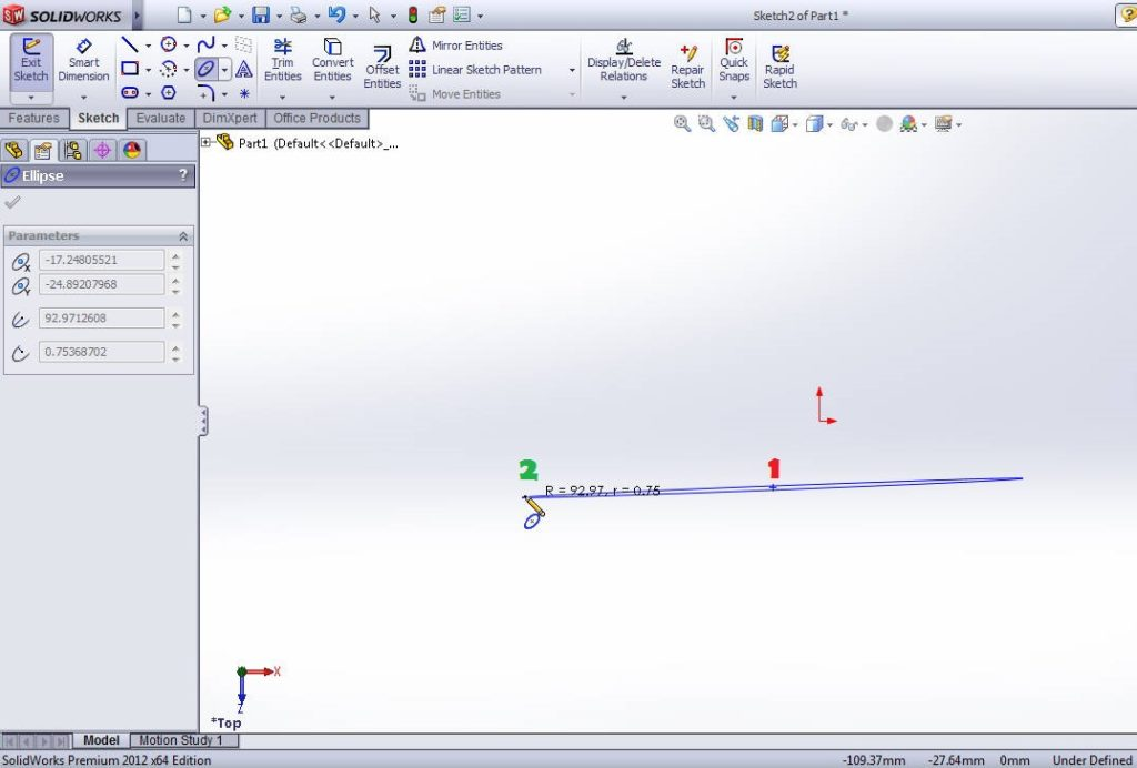 solidworks tutorials ellipse sketching tools drawing step 3 point 2