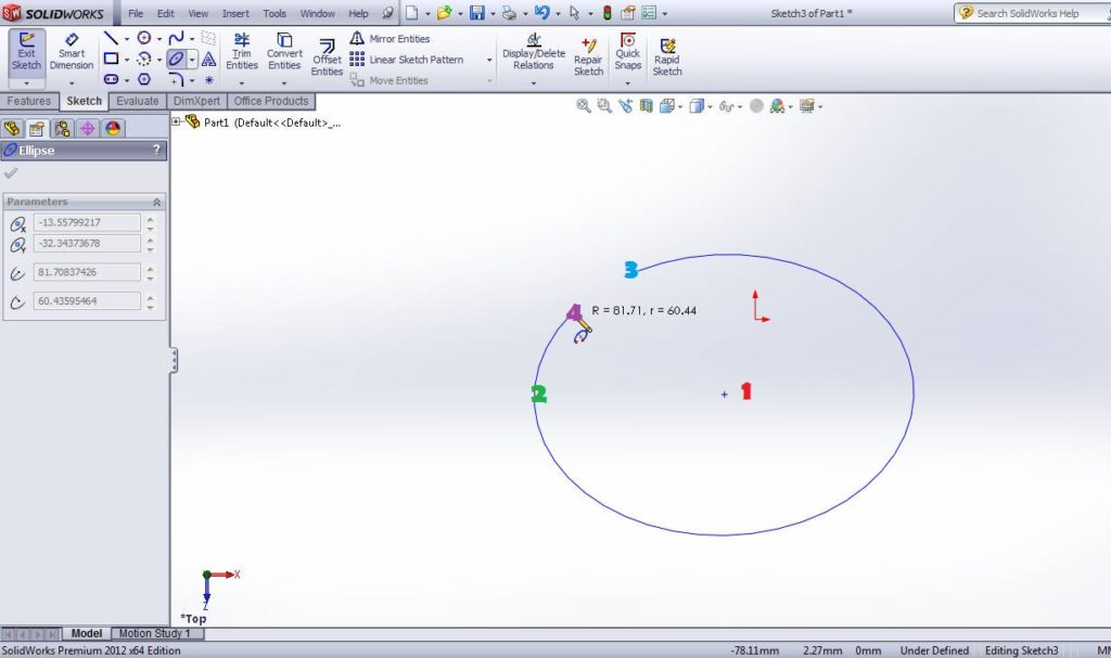 solidworks tutorials partial ellipse sketching tools drawing step 3 point 4