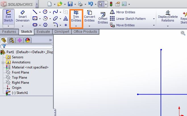 solidworks tutorials how to use trim entities in solidworks trim entities tool from command manager_2