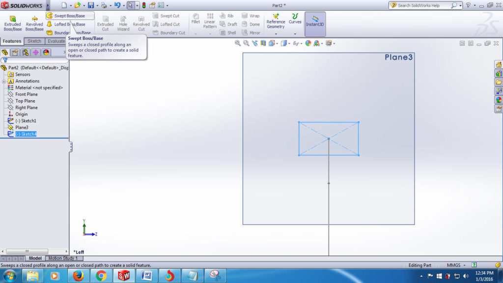 swept boss solidworks tutorials - apply swept boss or base slect from feature commad manager step-4-1