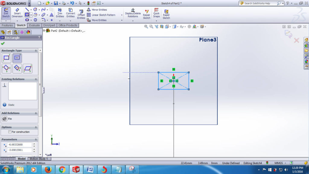 swept boss solidworks tutorials - create second plane for creating closed profile-reactngle step-3-5