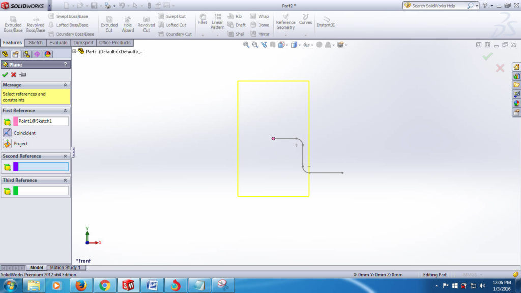 swept boss solidworks tutorials - create second plane for creating closed profile step-3-2